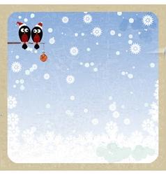 Bullfinchs on a Christmas garland vector image