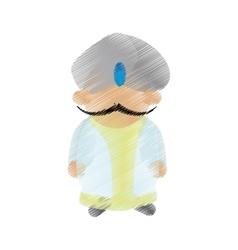 Cartoon indian man with mustache turban dhoti vector