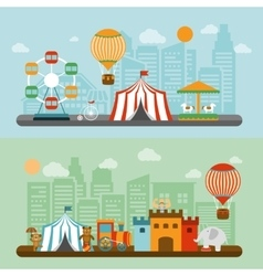 Circus in city flat banners set vector image vector image