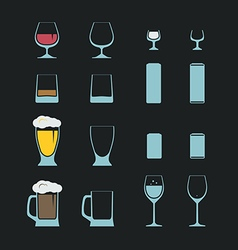 Different bottles and glasses set vector