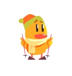 Duckling skiing cute character sticker vector
