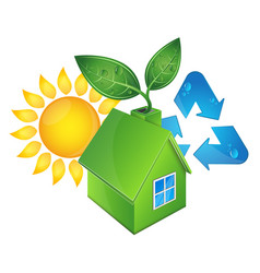 eco house and sun vector image vector image