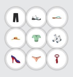 Flat icon garment set of beach sandal cravat vector