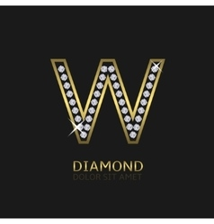 Golden Letter W vector image