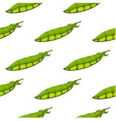 green peas hand drawn sketch seamless pattern vector image vector image
