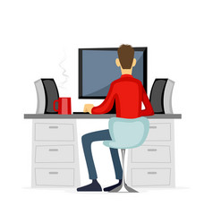 Guy working at computer vector