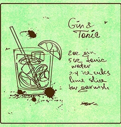 Hand drawn gin and tonic cocktail vector