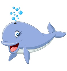 Happy whale cartoon vector image vector image