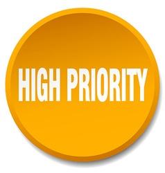 High priority orange round flat isolated push vector