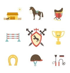 Horse and equestrian icons in flat style vector image