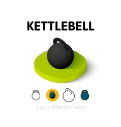 Kettlebell icon in different style vector
