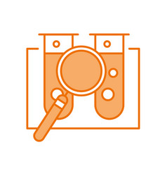 laboratory tube test with magnifying glass vector image