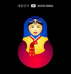 Matryoshka Korean girl vector image vector image