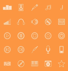 Music line icons on orange background vector image