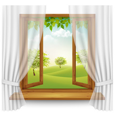 Nature summer background with wooden window frame vector