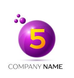 Number five splash logo purple dots and bubbles vector