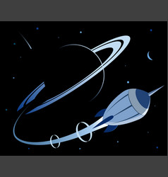 Planet and rocket space exploration vector