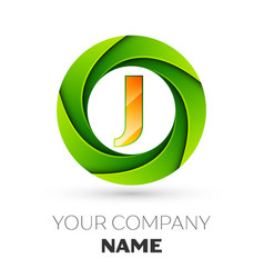 Realistic letter j logo in the colorful circle vector