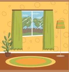 Retro living room vintage cozy home interior vector
