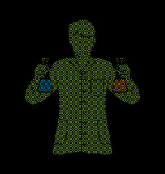 Scientist with flask chemical vector
