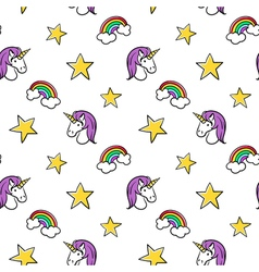 Seamless pattern of fashionable patches unicorn vector