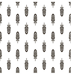 Seamless pattern with black feathers vector