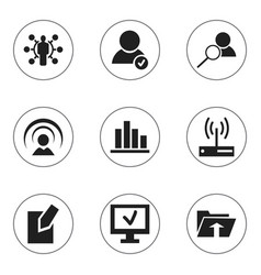 Set of 9 editable web icons includes symbols such vector