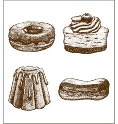 Set of doughnut pastry cake eclair vector