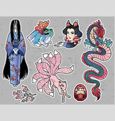 Set of japanese folklore yokai spirits demons vector