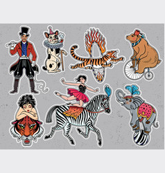 set of vintage circus stickers patches elements vector image