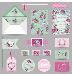 Set of Wedding Stationary - Invitation Card vector image