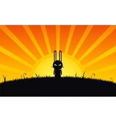Silhouette of rabbit vector image