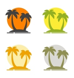 Summer set of logos depicting the silhouette of vector image vector image