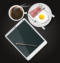 Tablet with black coffee and fried egg and bacon vector
