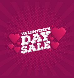 Valentines day sale vintage comics retro vector