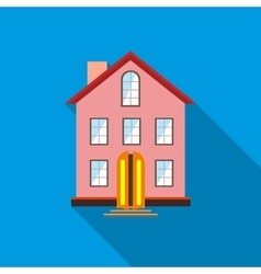Three stored country house icon flat style vector image