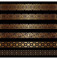 Set of gold borders vector