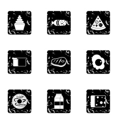 Food in morning icons set grunge style vector