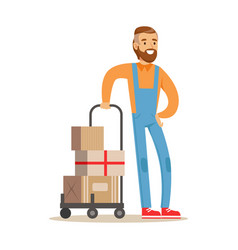 Beardy delivery service worker with loaded cart vector