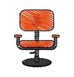 color crayon stripe cartoon comfortable desk chair vector image