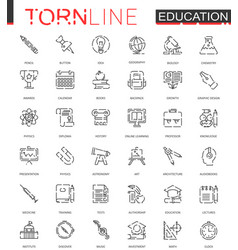 School education thin torn line web icons set vector