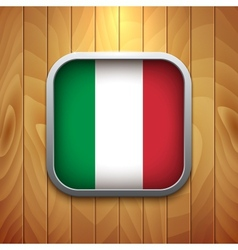 Rounded square italian flag icon on wood texture vector