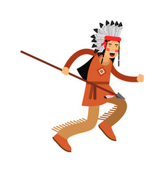 Native american indian in traditional costume and vector