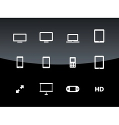 Screens icons on black background vector