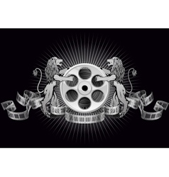 Film reel with lions vector