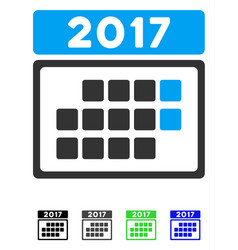 2017 calendar month table flat icon vector