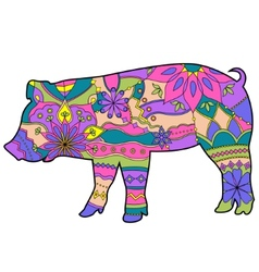 Pig colorful vector image