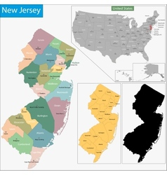 New Jersey map vector image
