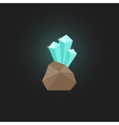 Shining crystal with stone vector