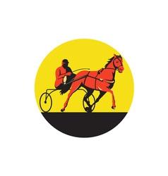 Horse and jockey harness racing circle retro vector